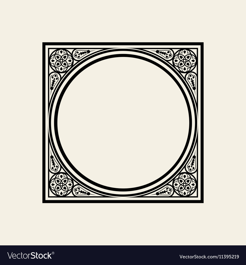 Elegant frame in Victorian style The circle