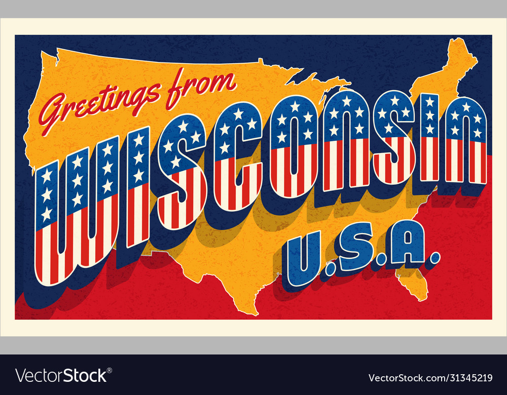Greetings from wisconsin usa retro postcard