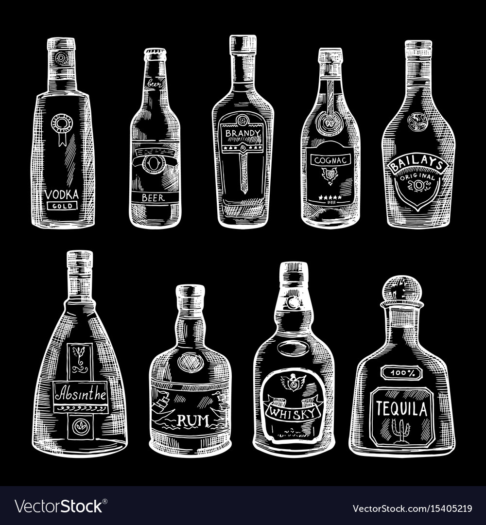Hand drawn of different bottles