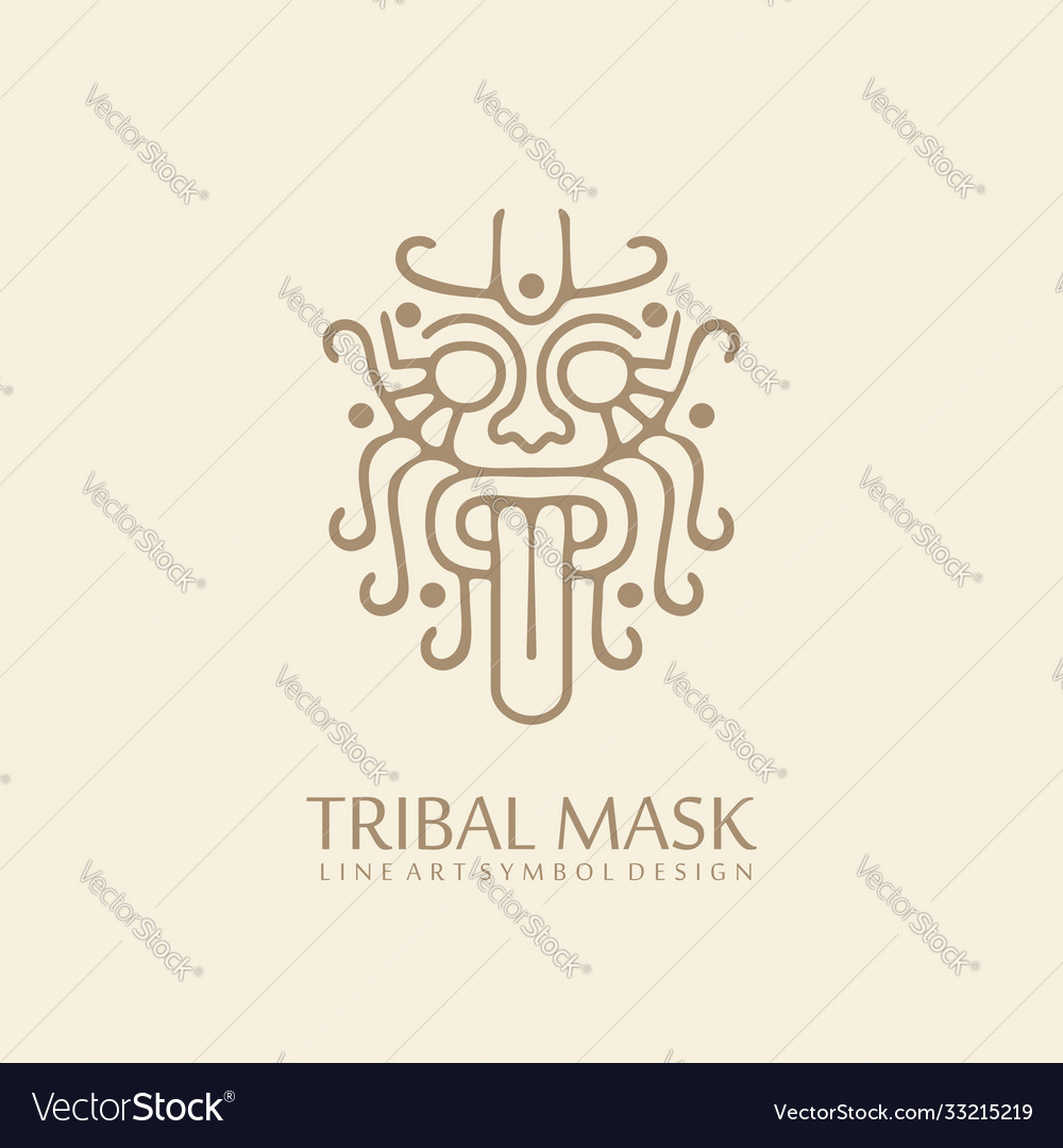 Myanmar tribal style line art symbol