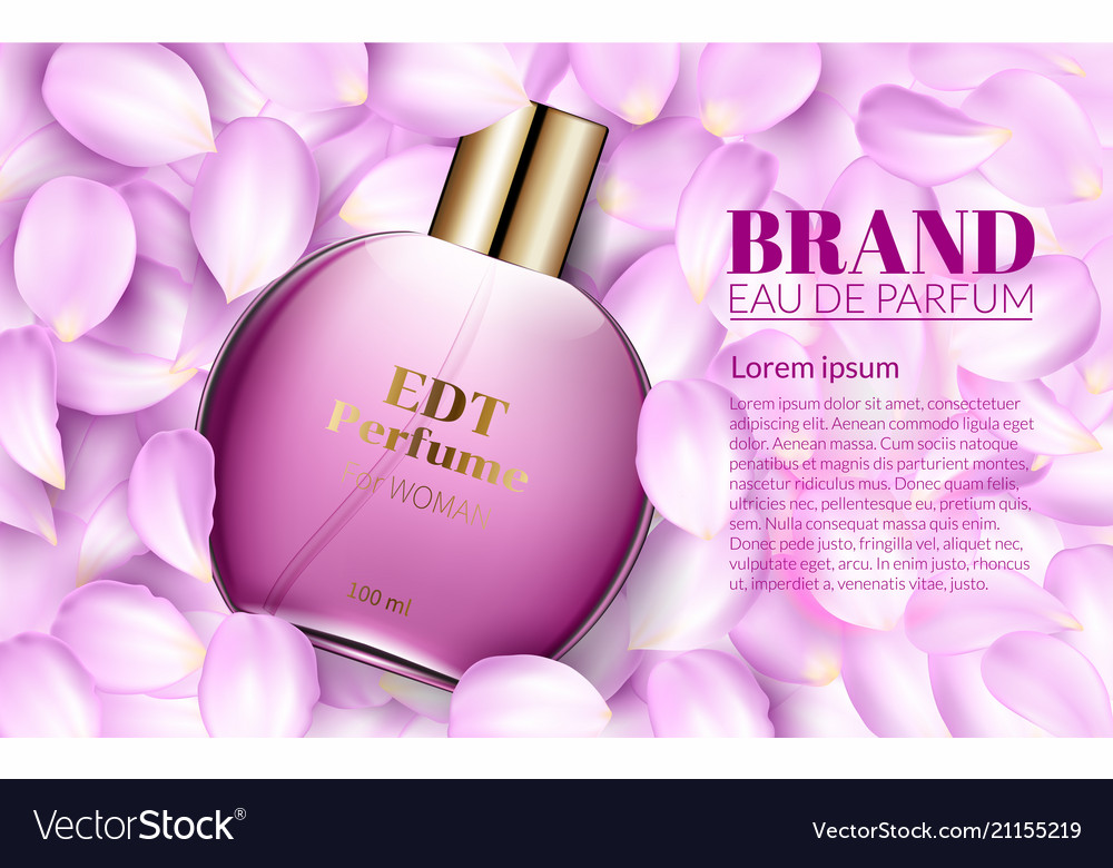 Perfume glass bottle lies on the pink flower