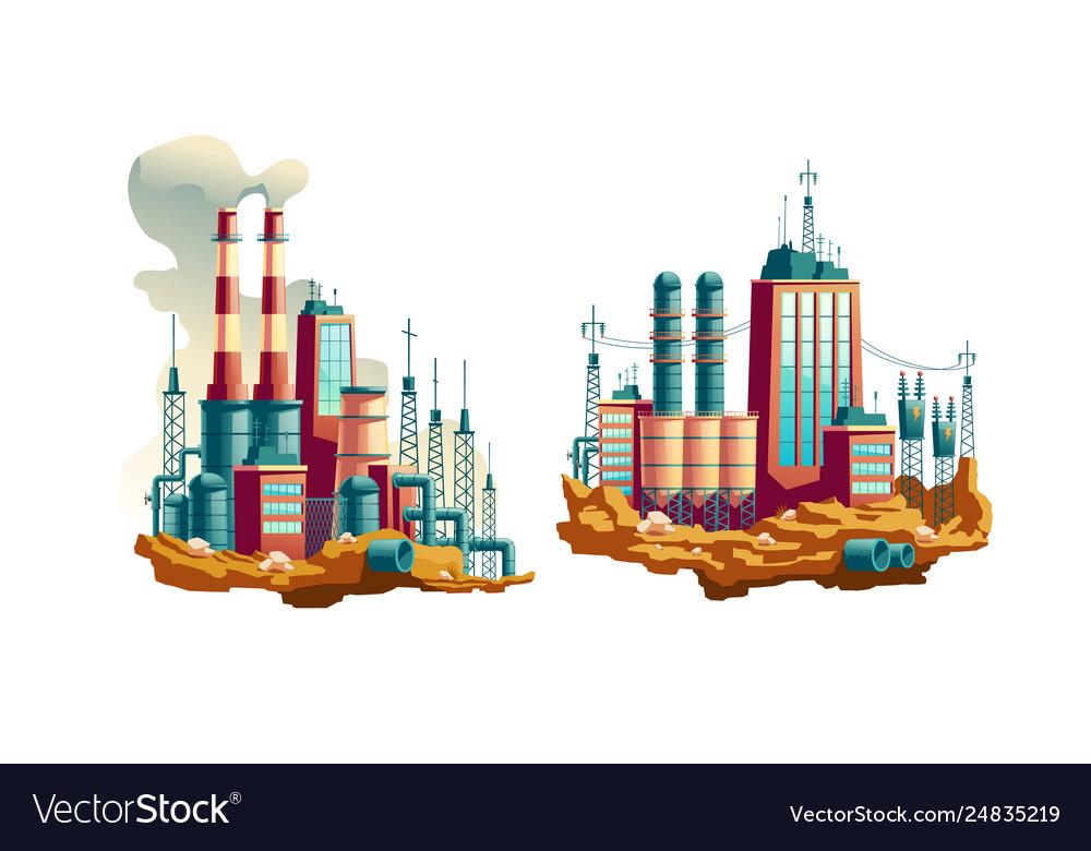 Power plant or station cartoon