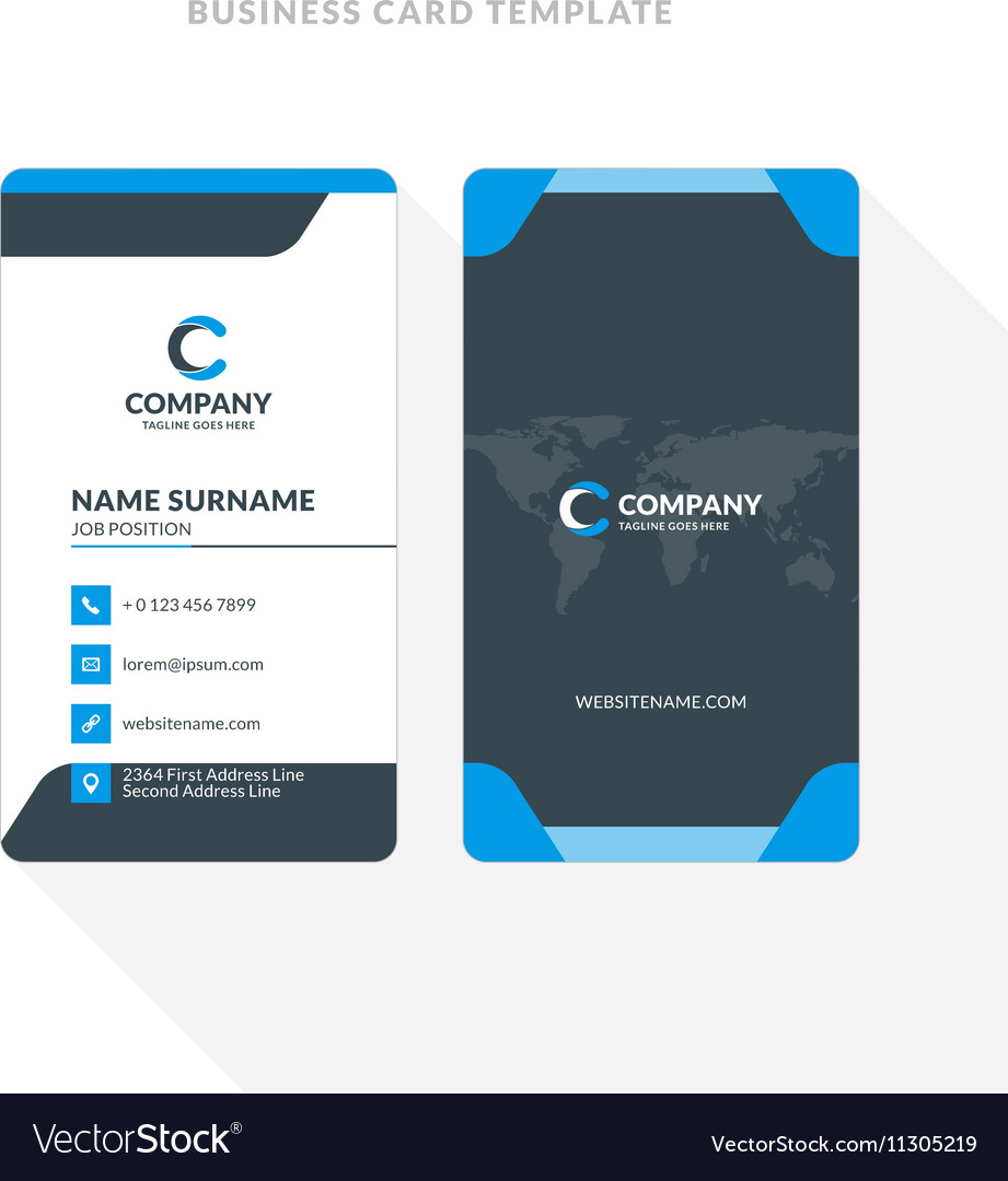vertical double sided business card template blue vector image