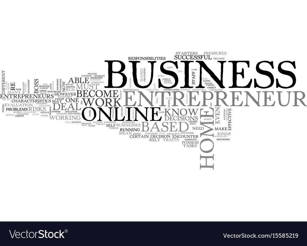 Work at home based business entrepreneur text Vector Image