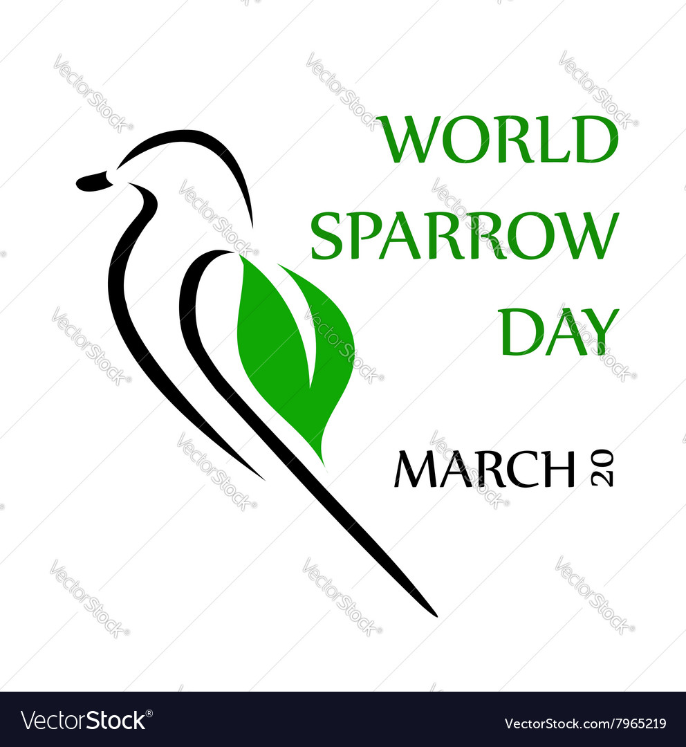 World Sparrow Day- March 20 vector image