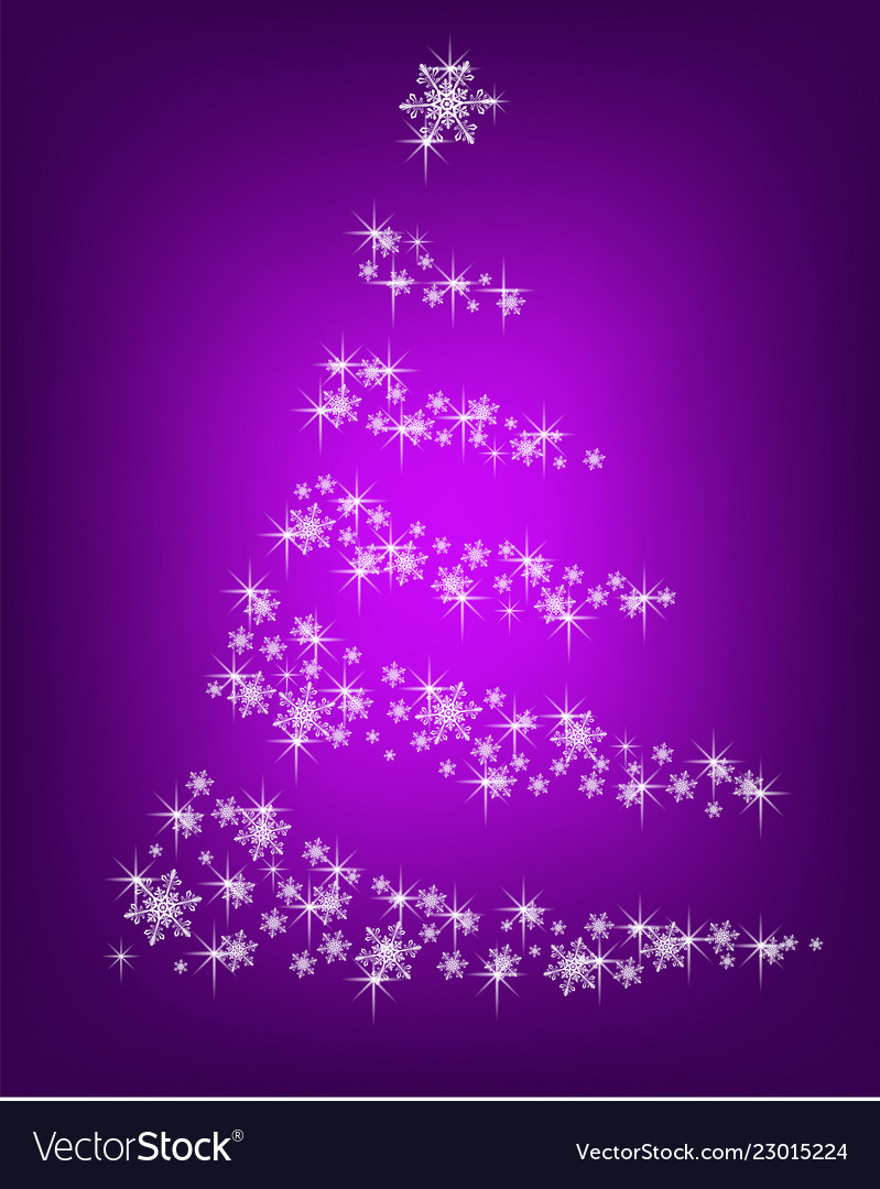 Abstract christmas tree of snowflakes on a purple