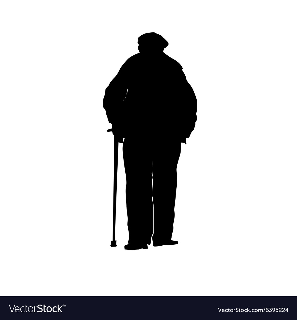 An old man with a cane silhouette vector image