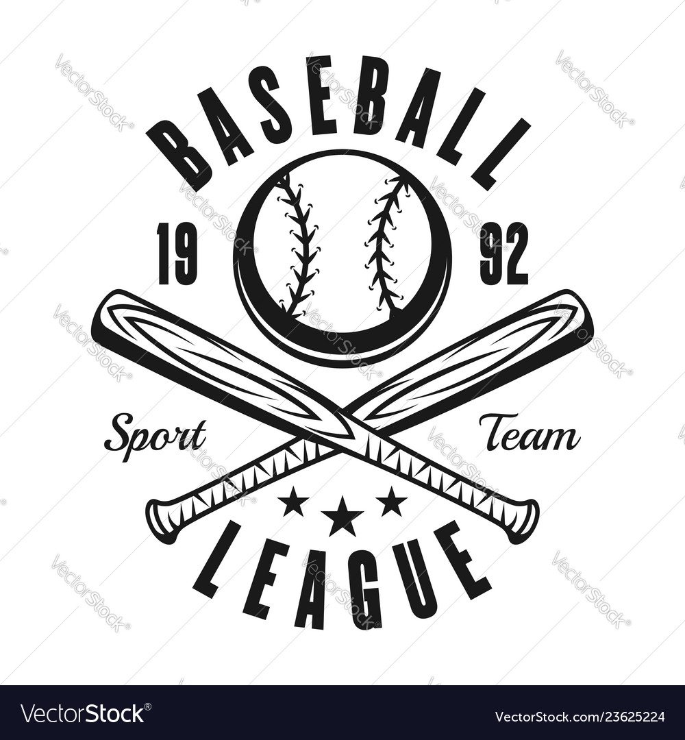 Ball and two baseball bats vintage black emblem