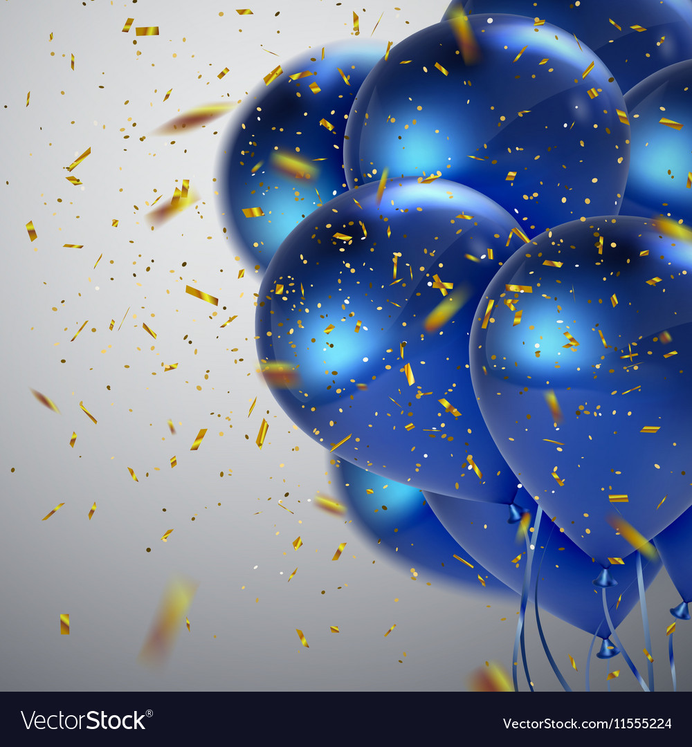 Blue balloons and golden confetti
