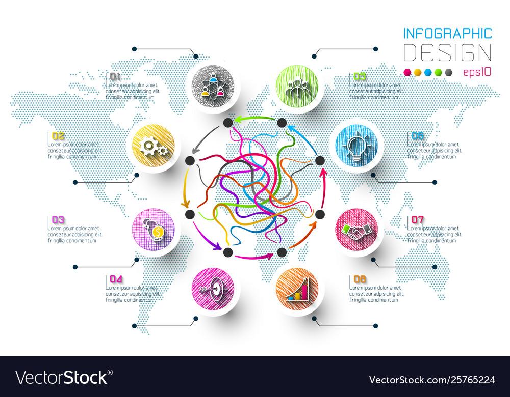 Business doodle color labels shape infographic