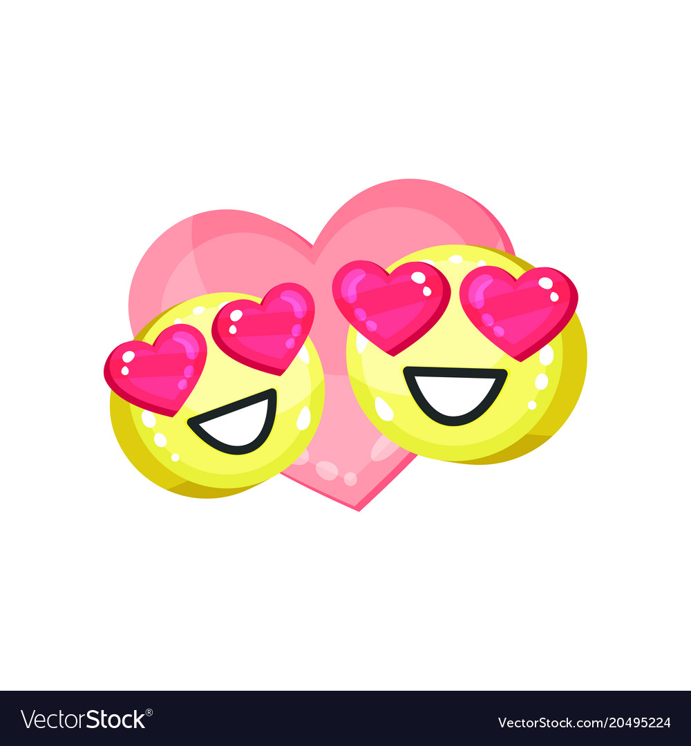 Couple of cute emoticons with heart eyes bright