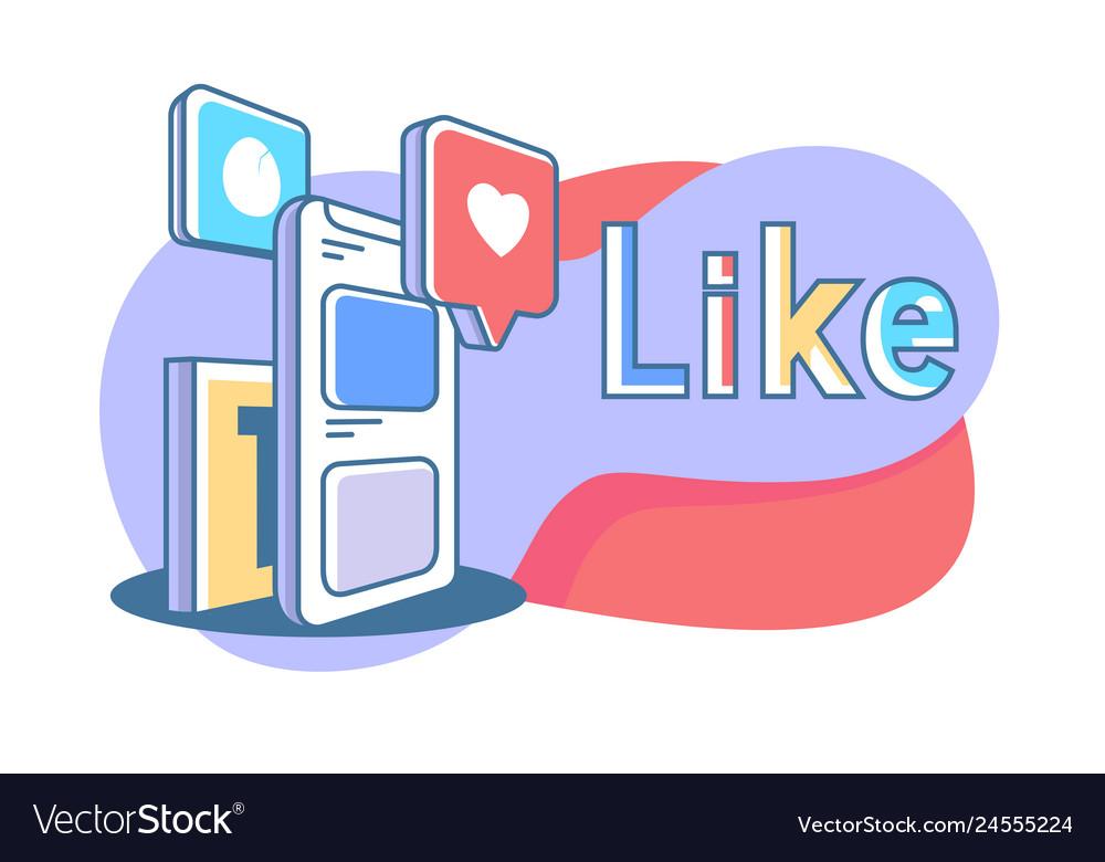 Flat online mobile social media with heart like