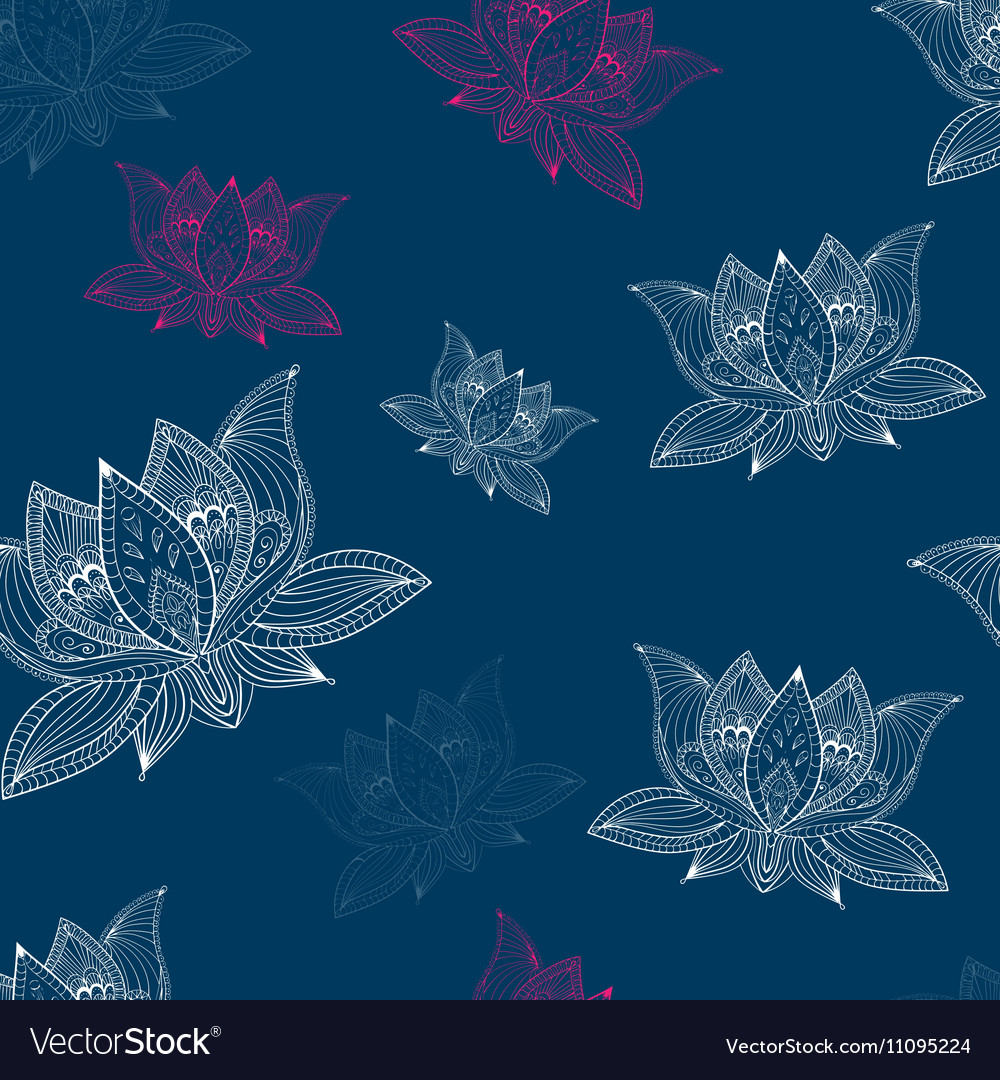 Floral vintage seamless pattern with lotus flowers