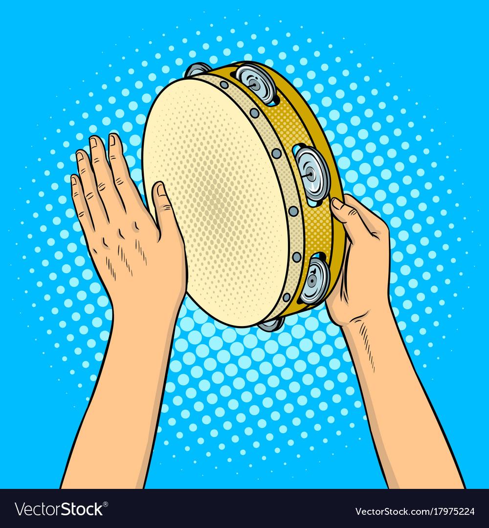 Hands with tambourine pop art