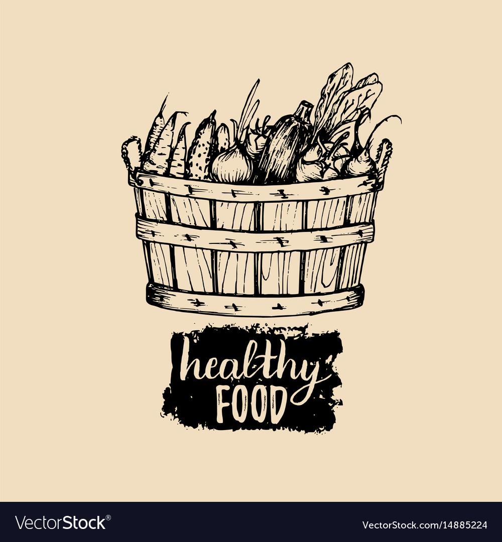 Healthy food logo farm eco products