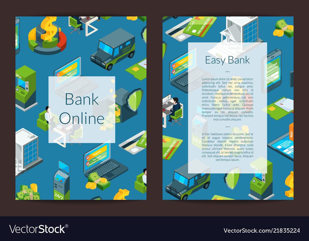 Isometric money flow in bank icons card