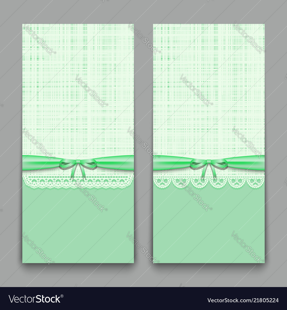 Lacy Green Cards With Ribbon And Bow Template For Vector Image