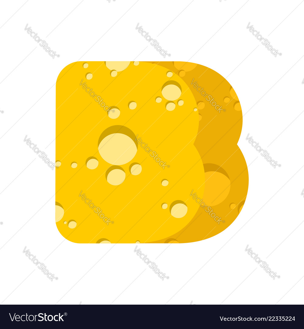 Letter b cheese font symbol of cheesy alphabet