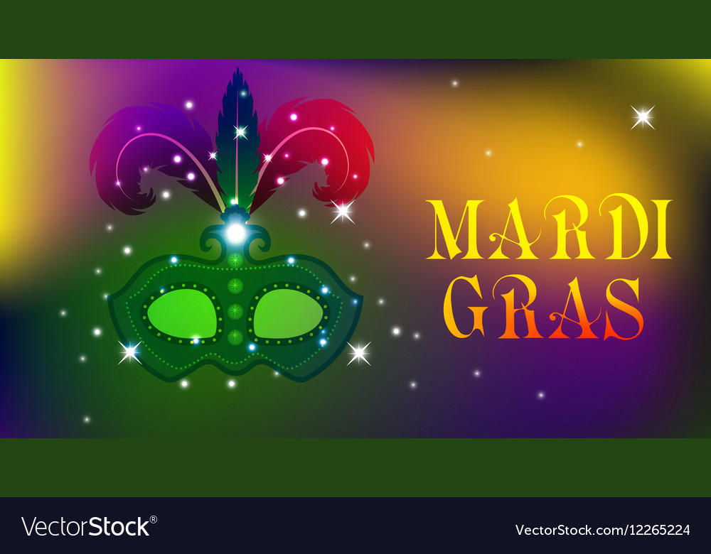 Mardi Gras mask colorful poster template flyer