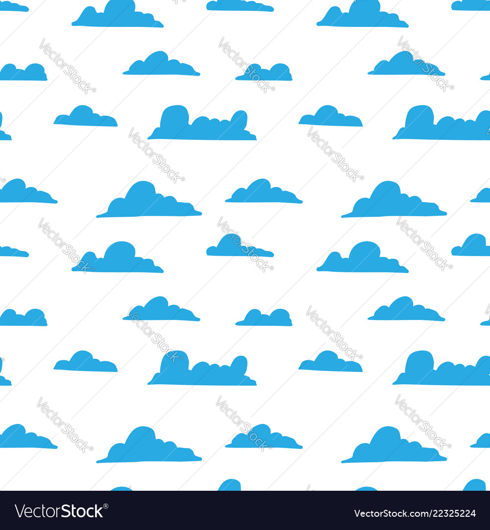 Seamless pattern with hand drawn clouds design