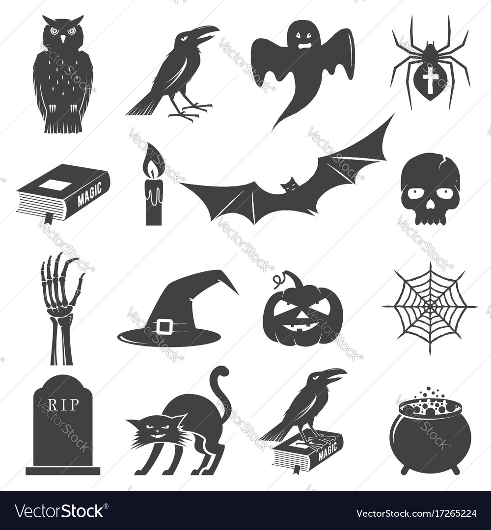 Set of halloween icon silhouette