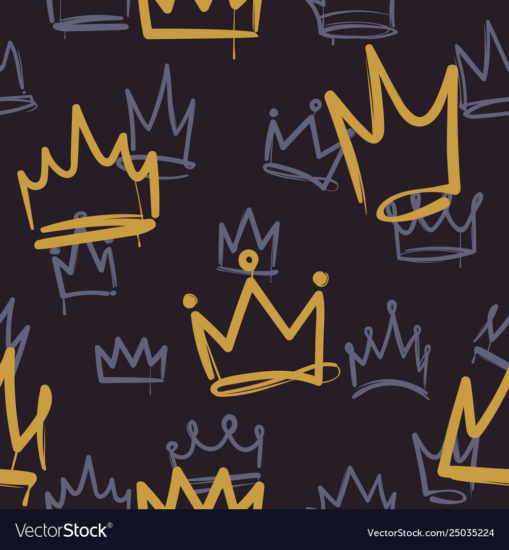 Sketch crown pattern seamless print texture girl