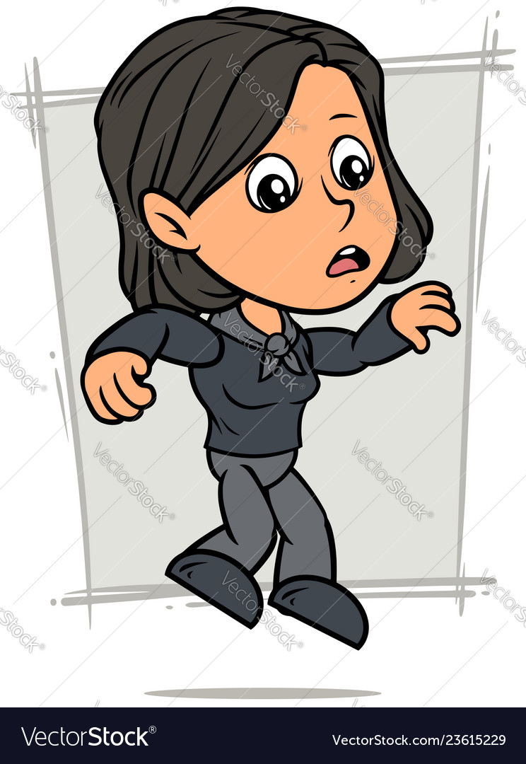 Cartoon falling girl character in black clothes