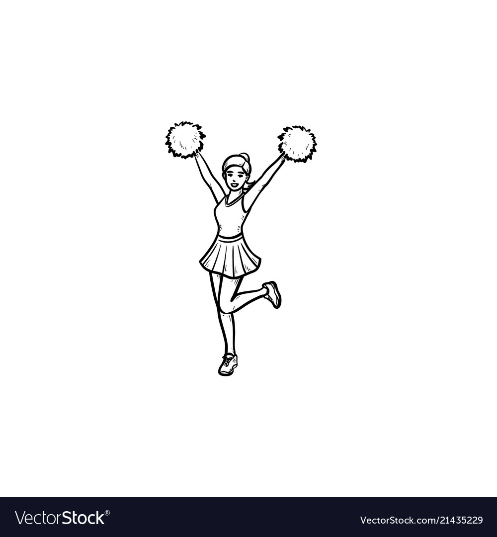 Cheerleader girl with pompoms hand drawn outline
