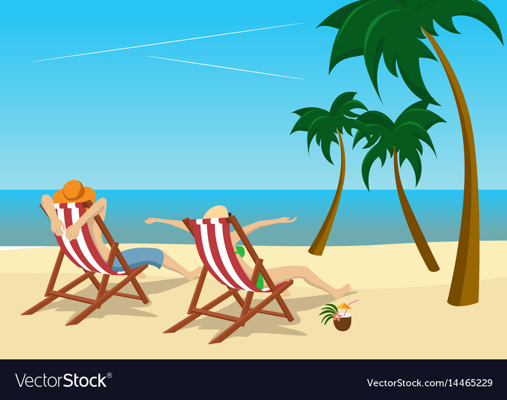 Couple sitting in deck chairs on tropical beach vector image