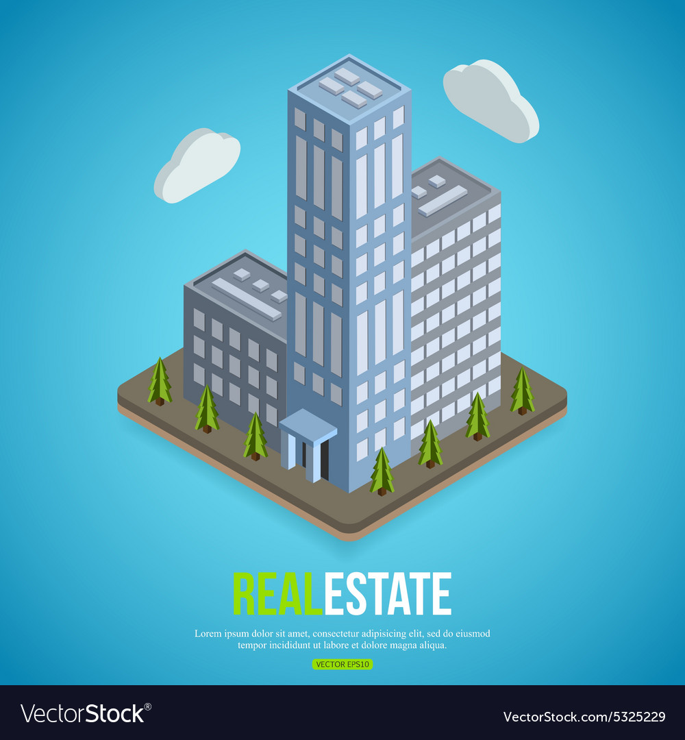 Flat isometric city real estate background with