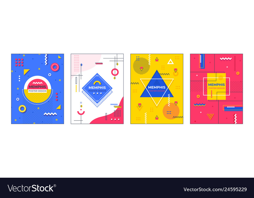 Memphis posters minimal geometric banner graphic
