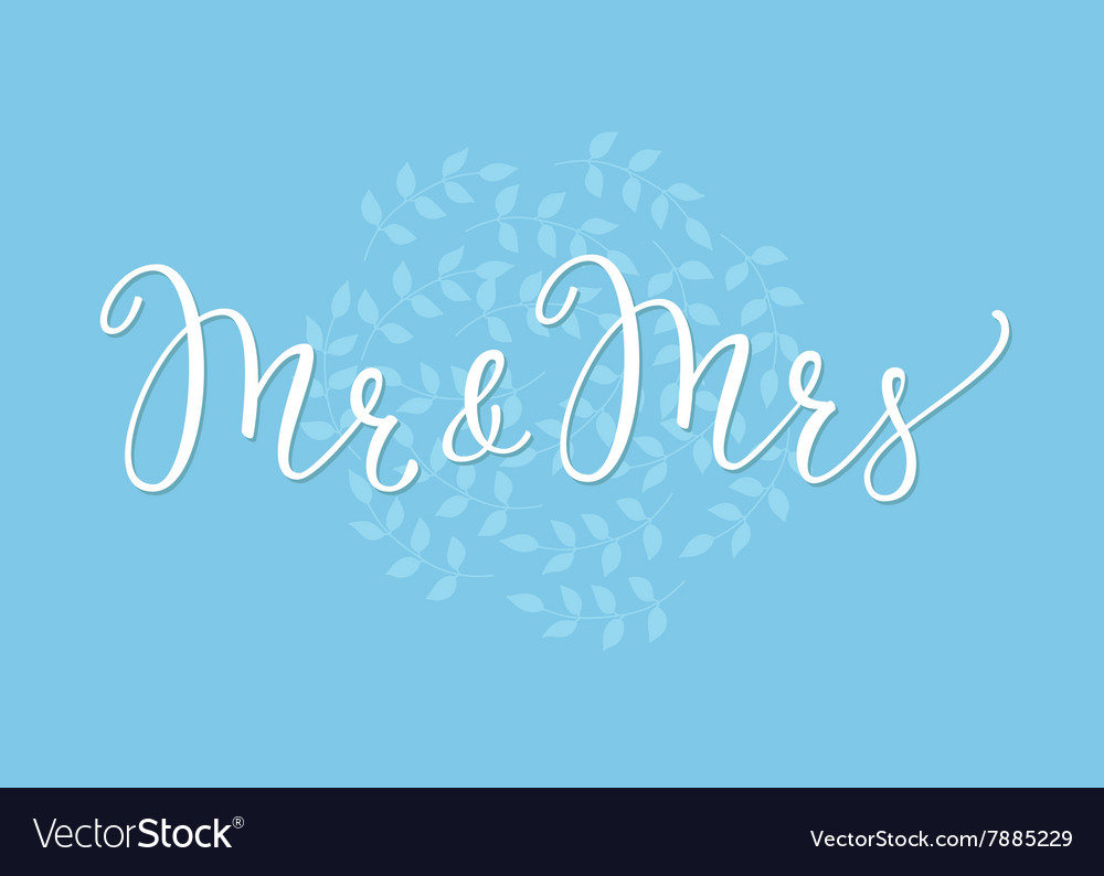 mr mrs wedding simple lettering decor royalty free vector