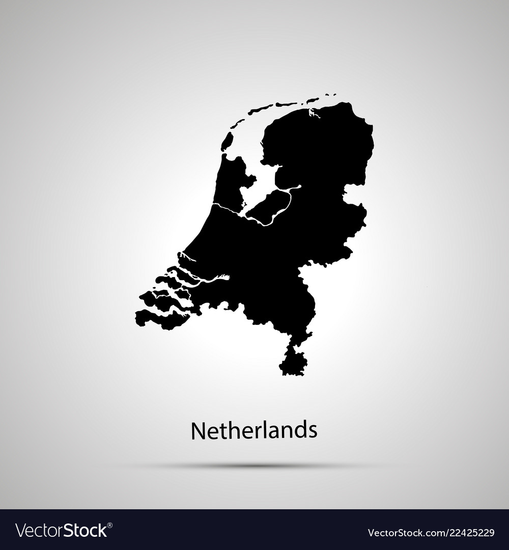 Netherlands country map simple black silhouette