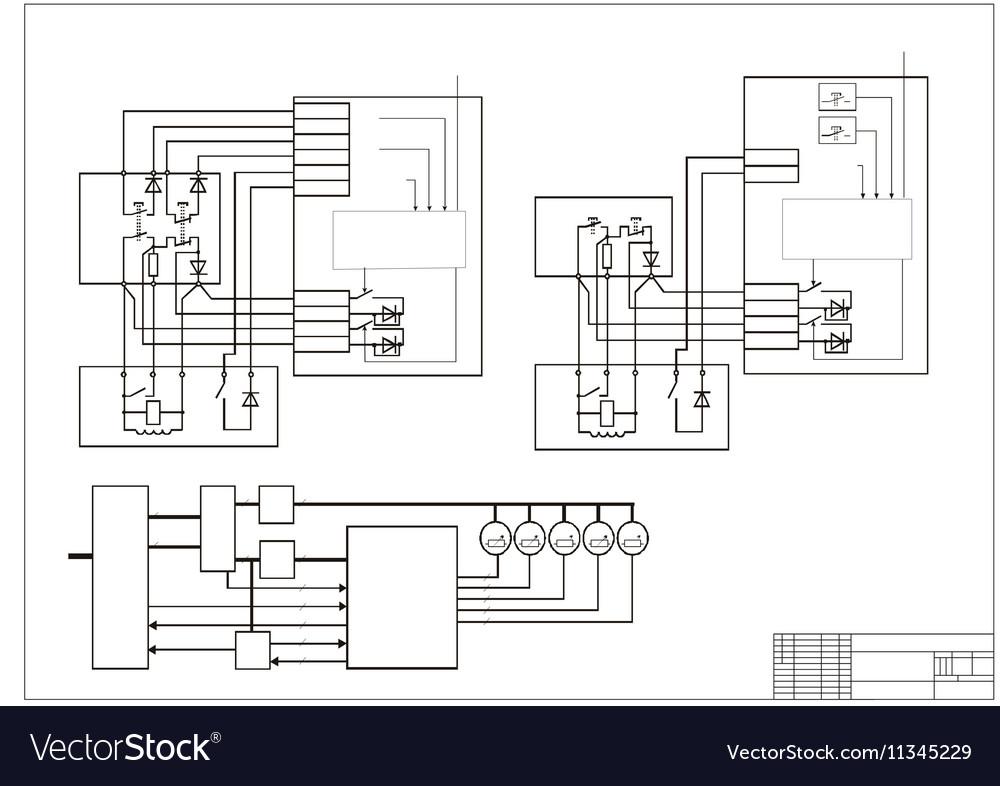 Schematic Diagram Power Circuit Royalty Free Vector Image