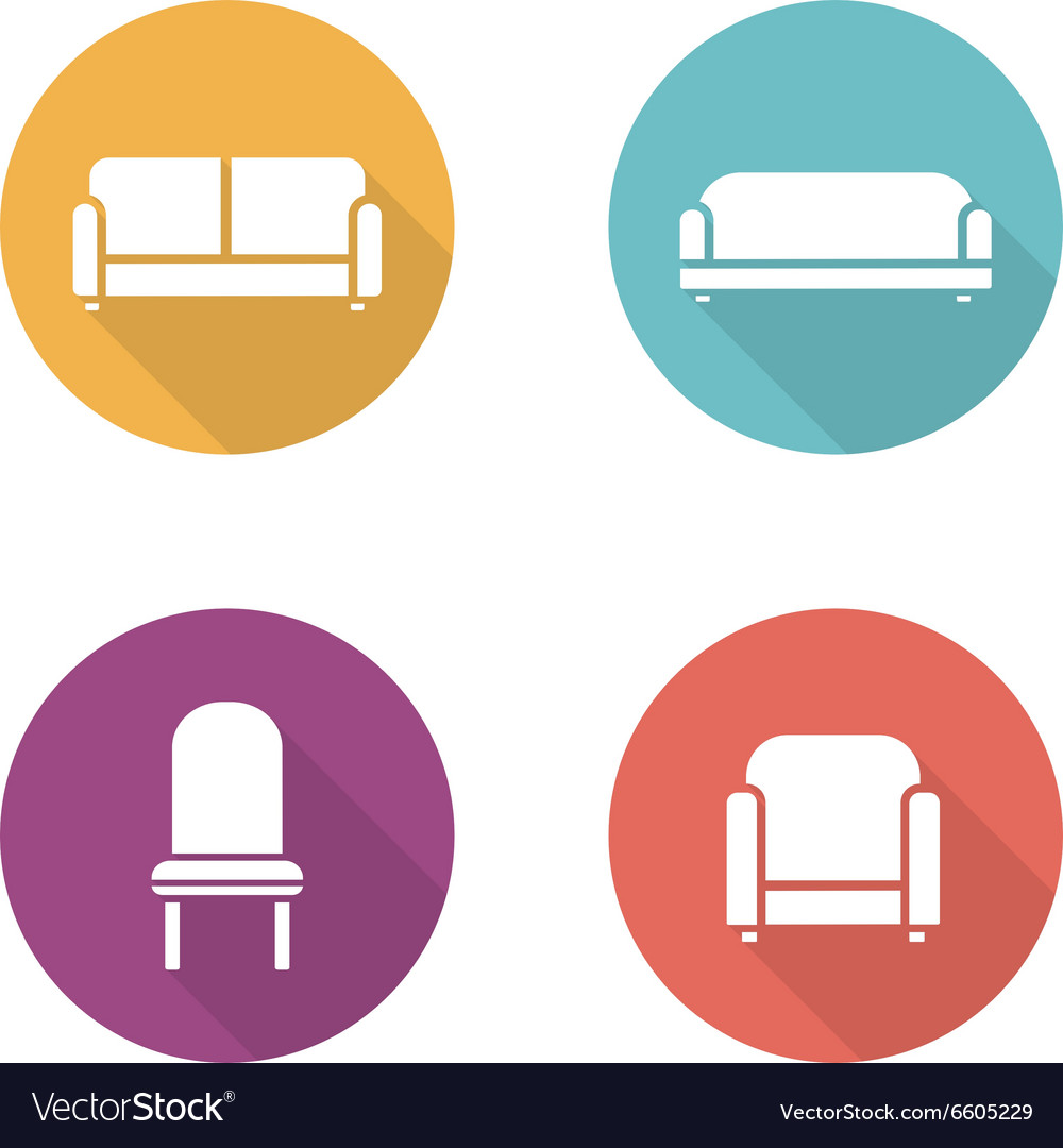 Soft Furniture Flat Design Icons Set Royalty Free Vector,Best Decorated Homes For Christmas