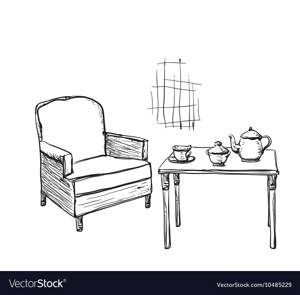 Fantastic Tea Time Hand Drawn Chair And Table Onthecornerstone Fun Painted Chair Ideas Images Onthecornerstoneorg