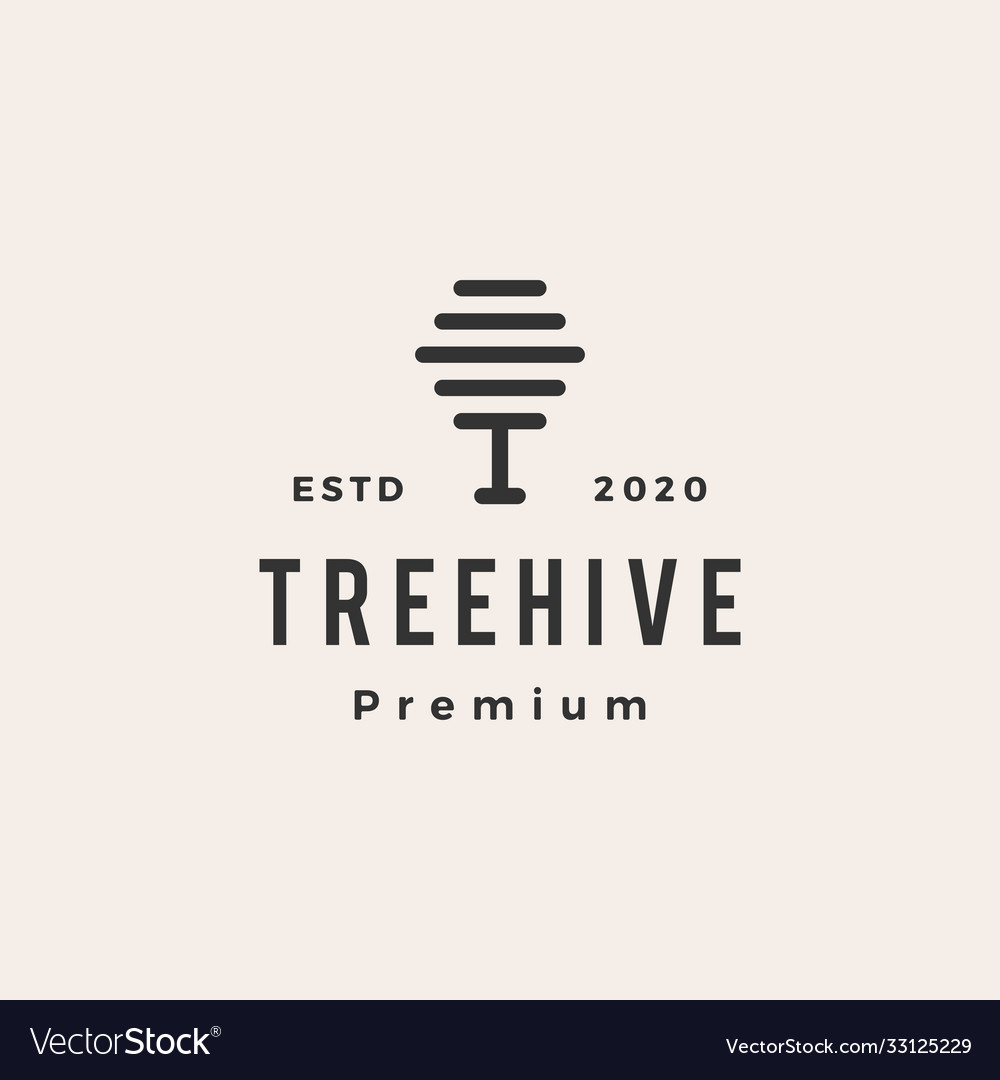 Tree hive hipster vintage logo icon
