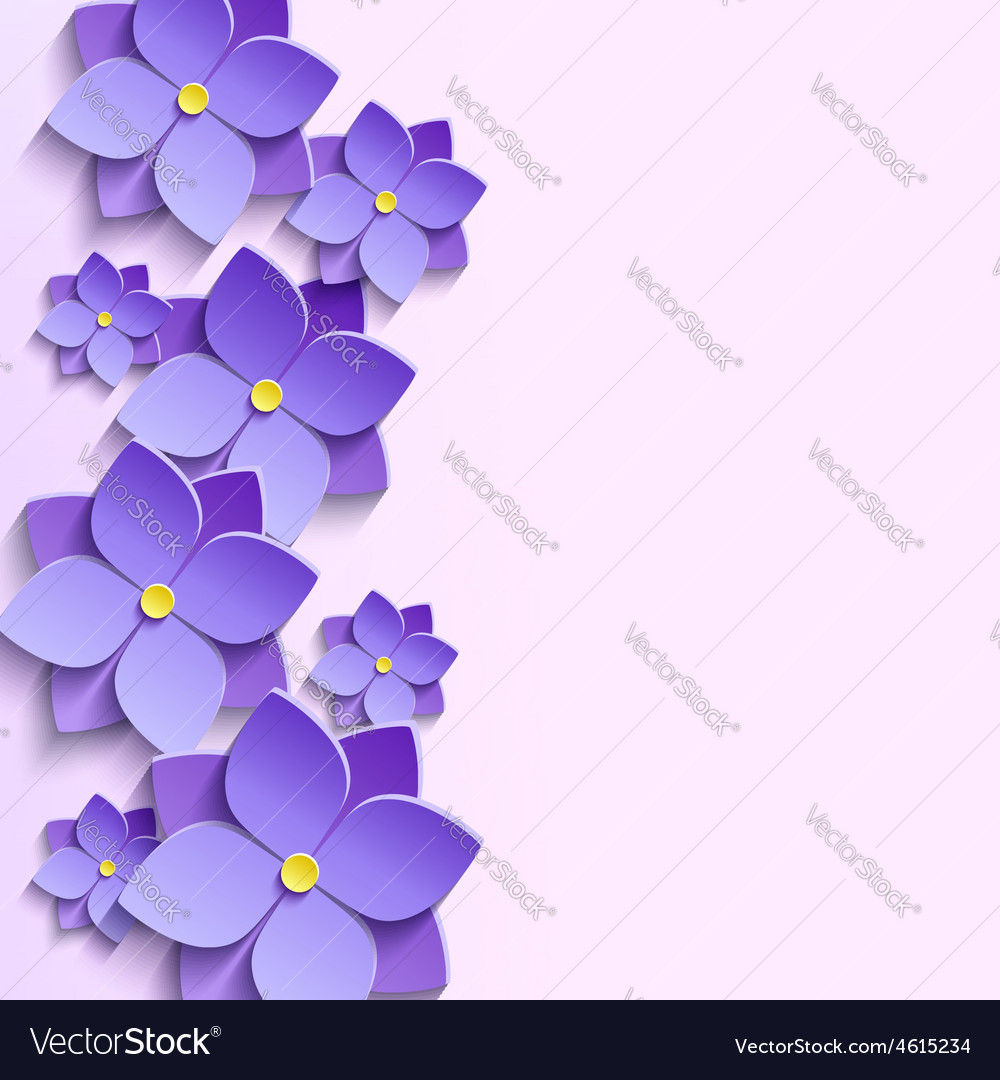 background with summer 3d flowers violets vector image