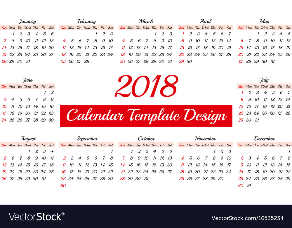 calendar 2018 daily planner template vector image