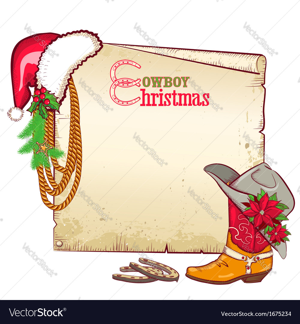 Christmas cowboy paper for text card background