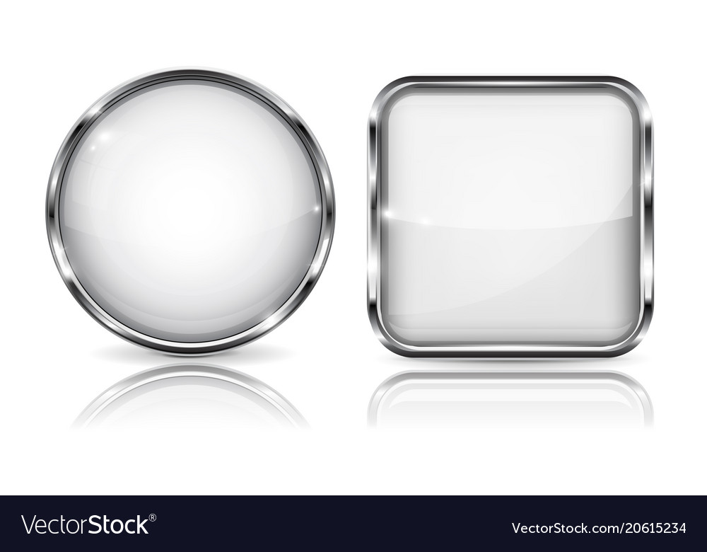 Glass white buttons round and square 3d buttons