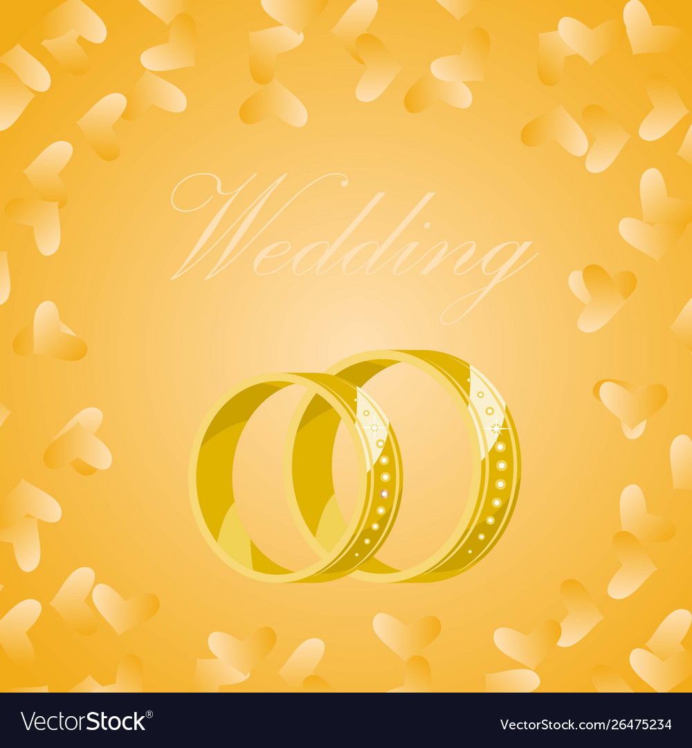Golden Wedding Rings On Yellow Background