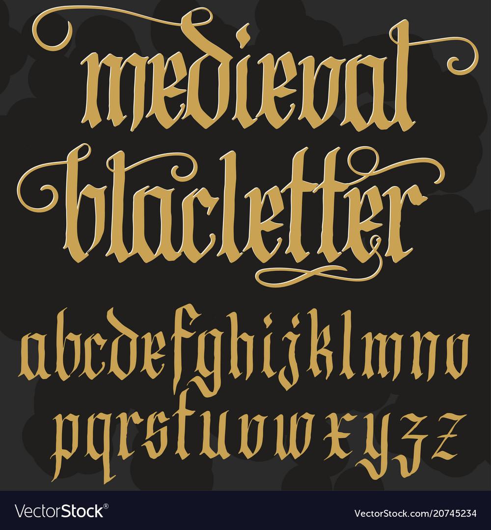 Gothic alphabet lowercase calligraphic letters