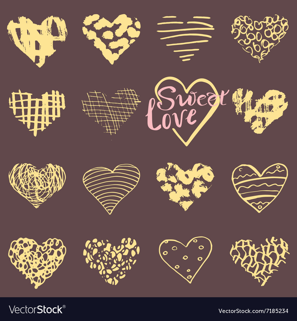 Hand drawn hearts symbols and lettering for