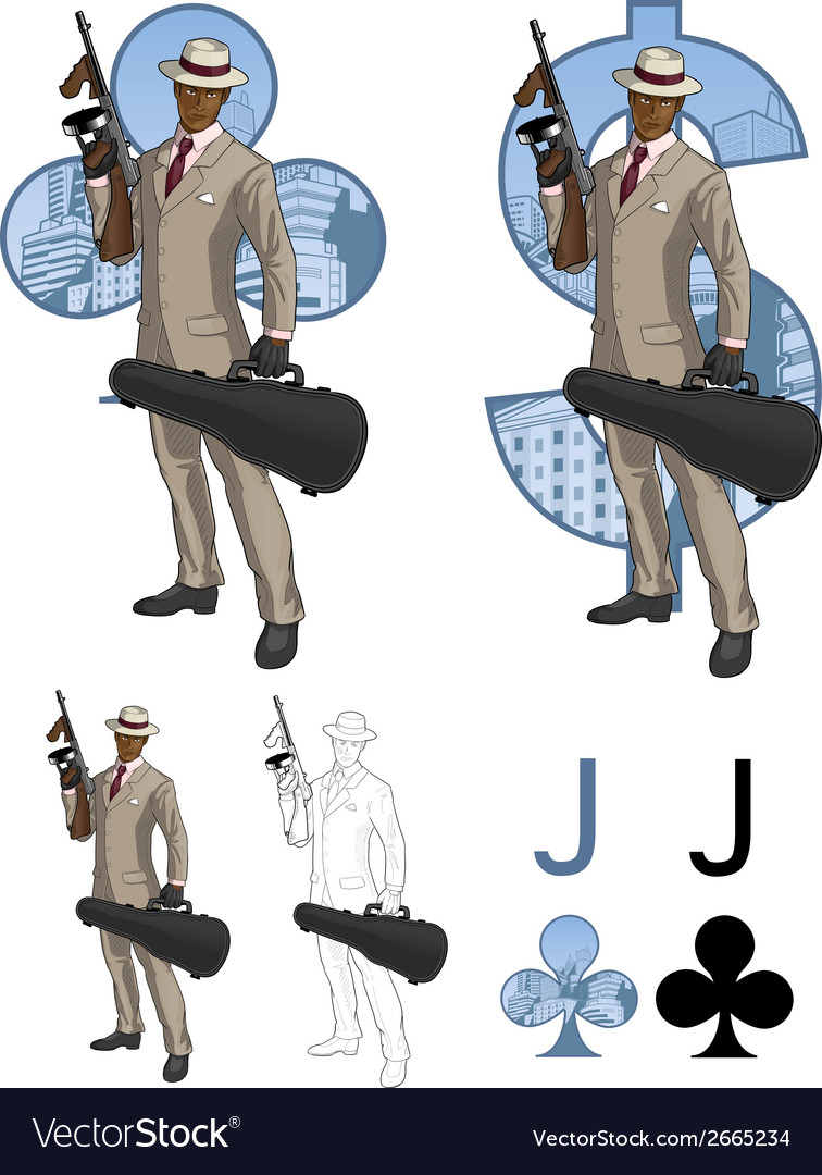 Jack of clubs afroamerican mafioso with Tommy-gun