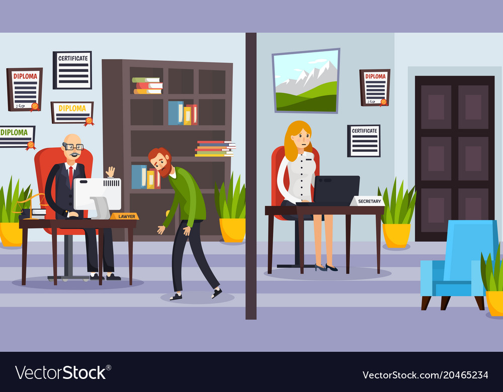 Office of lawyers orthogonal compositions vector image