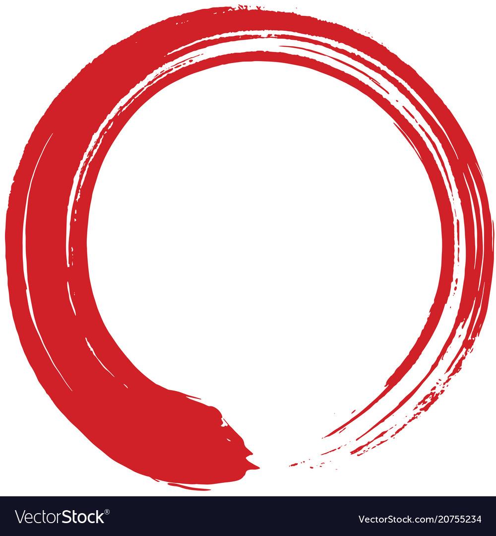 Red enso zen circle brush