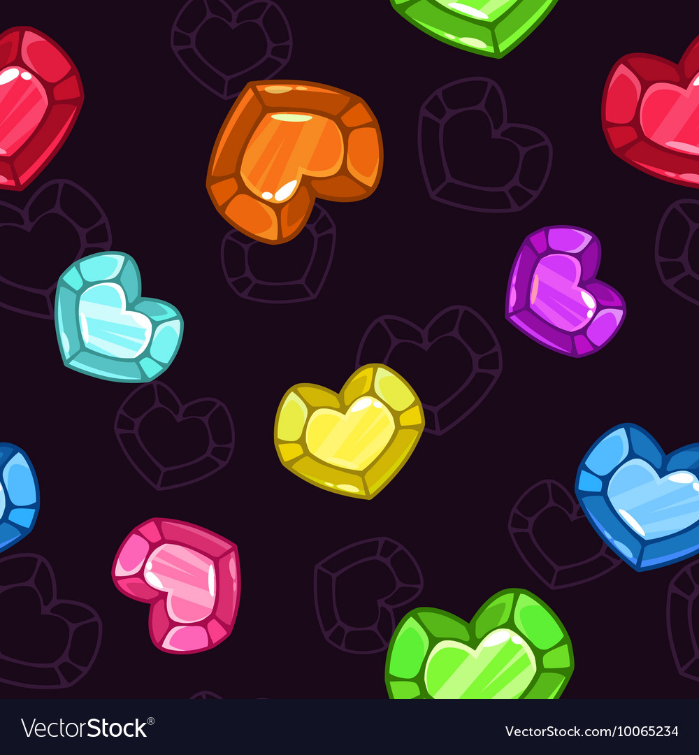 Seamless pattern with colorful crystal hearts