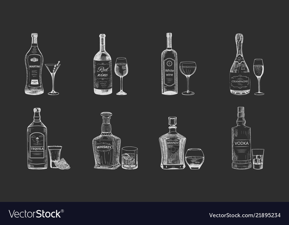 Set of isolated alcohol beverages bottles sketch