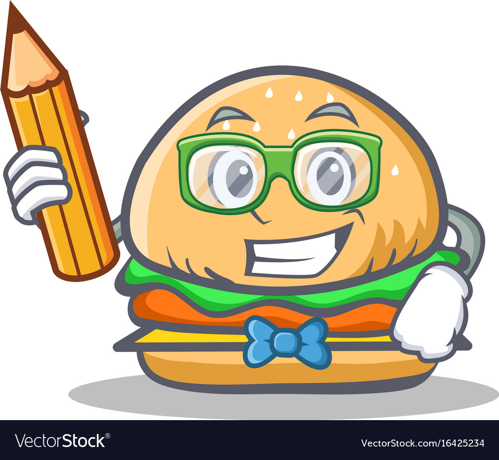 Student burger character fast food with pencil